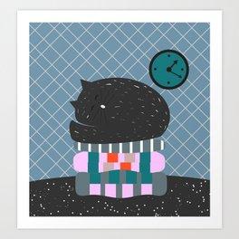 Cat sleeping on pillows Art Print