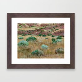 Boise foothills acrylic painting Framed Art Print