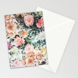 Vintage green pink yellow watercolor roses floral Stationery Cards