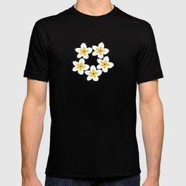 Yellow Plumeria Lei (Black) T-shirt