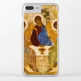 Holy Trinity Icon Byzantine Orthodox Rublev Holy Angels Christmas Gift Clear iPhone Case