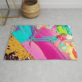 Abstract Acrylic brushstrokes and sequins Rug