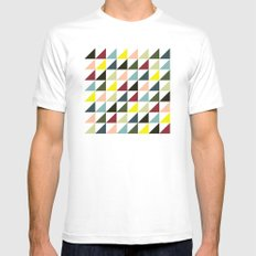 Mid-century triangles White MEDIUM Mens Fitted Tee