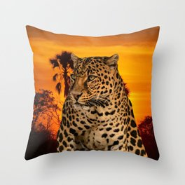Leopard and Sunset Throw Pillow