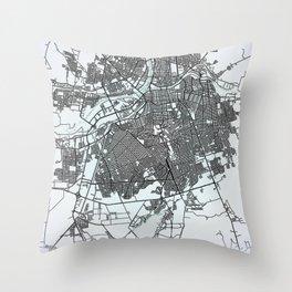 Culiacán, Sinaloa, Mexico, White, City, Map Throw Pillow