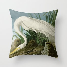 White Heron - John James Audubon's Birds of America Print Throw Pillow
