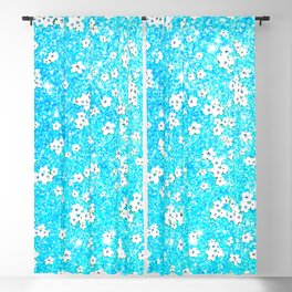 turquoise blue white floral pattern Blackout Curtain