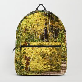 Yellow Tree Road // Hiking in the Forest Deep Into Autumn Colorful Trees Backpack