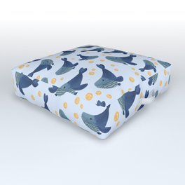 Swimming Blue Whales Outdoor Floor Cushion