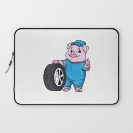Pig as Car mechanic with Tires Laptop Sleeve
