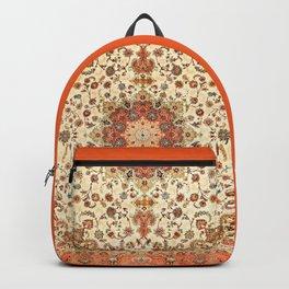 N71 - Orange Antique Heritage Traditional Moroccan Style Mandala Artwork Backpack