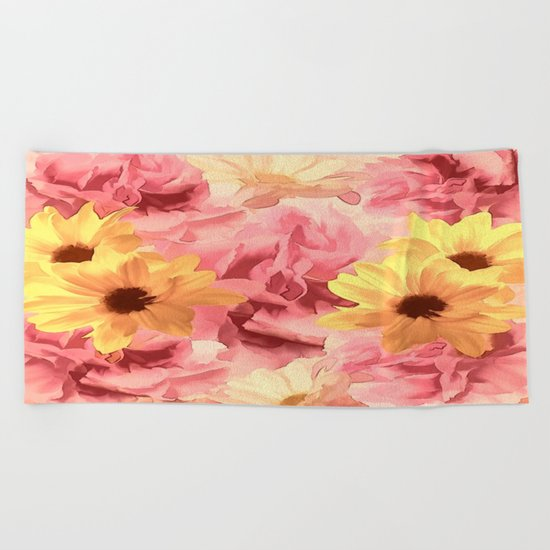 Summer Day Floral  Beach Towel
