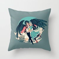 calcifer Throw Pillows featuring Fly Away With Me by Nikittysan