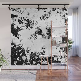 Spilt White Textured Black And White Abstract Painting Wall Mural