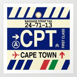 CPT Cape Town • Airport Code and Vintage Baggage Tag Design Art Print