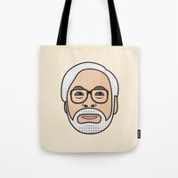 hayao miyazaki Tote Bags featuring Hayao Miyazaki Portrait - Beige by Cedric S Touati