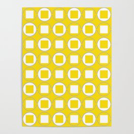 Lemon Yellow Contemporary Bead Pattern Poster