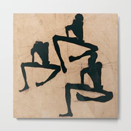 """Egon Schiele """"Composition with Three Male Nudes"""" Metal Print"""
