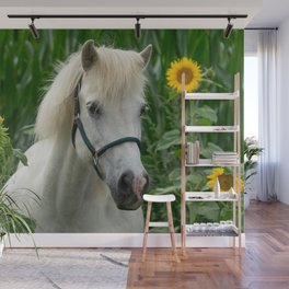Horse and Sunflowers Wall Mural