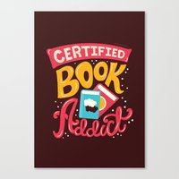 risa rodil Canvas Prints featuring Certified Book Addict by Risa Rodil