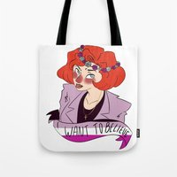 dana scully Tote Bags featuring Believer Scully by ddyn