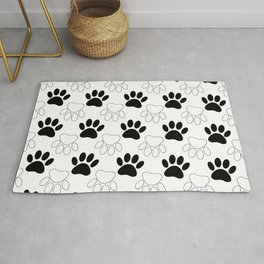 Black And White Dog Paw Print Pattern Rug