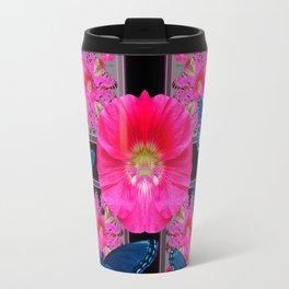 FUCHSIA PINK FLOWERS BLUE BUTTERFLIES ABSTRACT Travel Mug