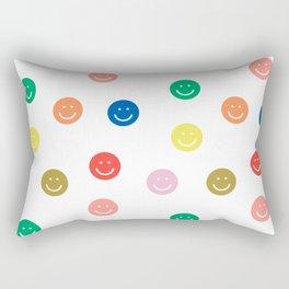 Smiley faces happy simple rainbow colors pattern smile face kids nursery boys girls decor Rectangular Pillow