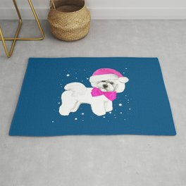 Bichon Frise pink santa hat christmas holiday themed pattern print pet friendly dog breed gifts Rug
