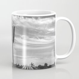 Saguaro Sunrise // Black and White Arizona Desert Landscape Photography Cactus Sun Rays Coffee Mug