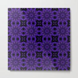 Purple Blue Floral Design Metal Print