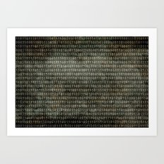 The Binary Code - Retro style vintage version Art Print