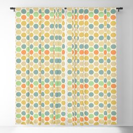 Mid-Century Modern Circles and Hexagons Alt with Orange Accent Blackout Curtain