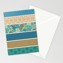 Bohemian Flower Striped Print Stationery Cards