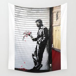 Banksy, Man with flowers Wall Tapestry