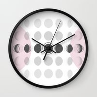 moon phase Wall Clocks featuring Moon Phase by Emily Morris
