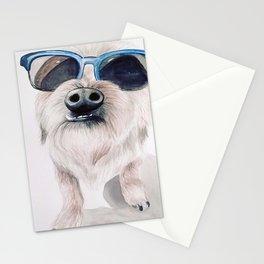 Watercolor Retro Sunglasses Dog Stationery Cards