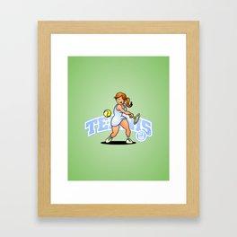 Tennis, Hit'm hard Framed Art Print