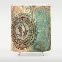 pisces Shower Curtains featuring Pisces by Jen Hallbrown