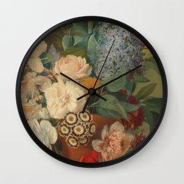 Flowers in a Terra Cotta Vase by Albertus Jonas Brandt Wall Clock