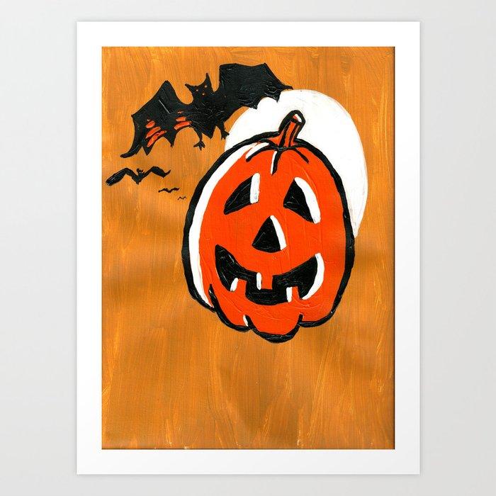 Vintage Jack o\u0027 Lantern and Bats Art Print