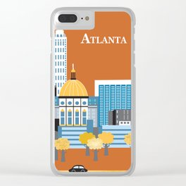 Atlanta, Georgia - Skyline Illustration by Loose Petals Clear iPhone Case