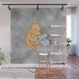 Pooh Reading Grey Wall Mural