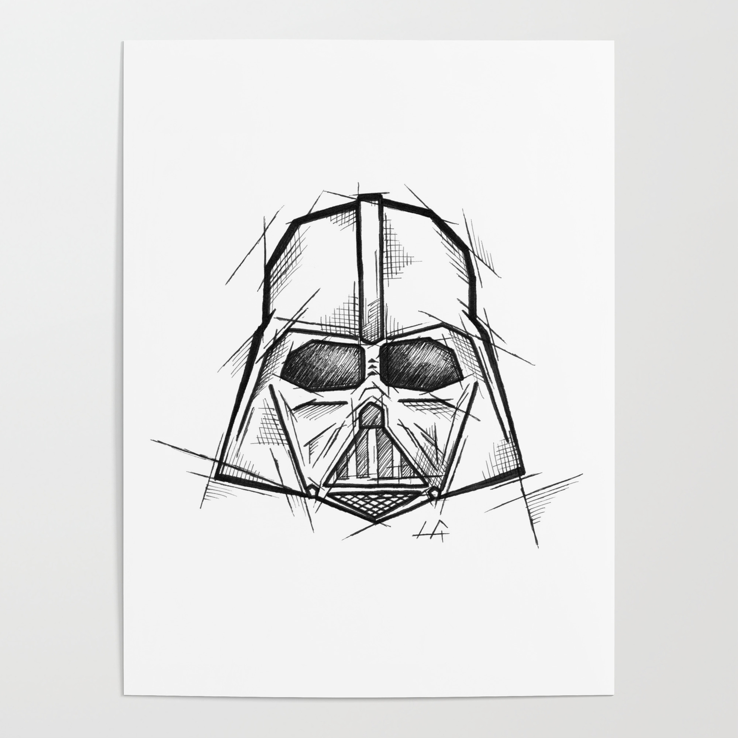 Darth vader handmade drawing made in pencil charcoal and ink tattoo sketch tattoo flash sketch poster