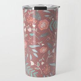 """lf & flwr"" Floral Halftone Repeating Pattern Travel Mug"