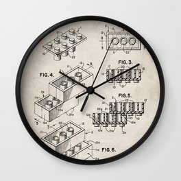 Legos Patent - Legos Brick Art - Antique Wall Clock