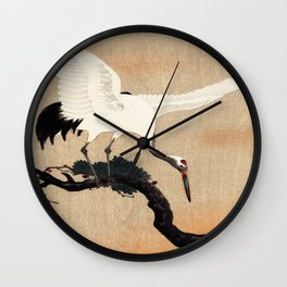 Crane Bird Branch Traditional Japanese Wildlife Wall Clock