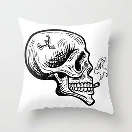 Smoker skull Throw Pillow