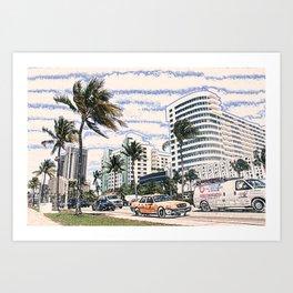 Taxi Miami Beach Florida ArtWork Painting Art Print