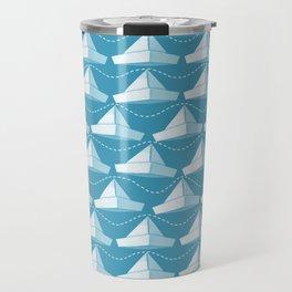 Paper Hats Pattern | Blue Travel Mug